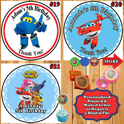 Super Wings Birthday Stickers Round Water Bottle Popcorn 1 Sheet Personalized