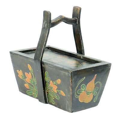 Small Antique Chinese Painted Food Utility Box, Black with Colorful Paintings 6