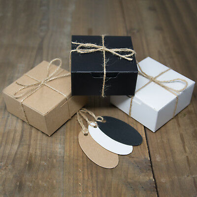 Eco Kraft Small Square Natural Gift Boxes Wedding Favour Includes String Tags