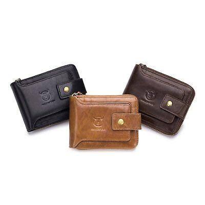 Mens Womens Genuine Leather Wallet RFID Blocking Zipper Bifold Credit Card Purse 2