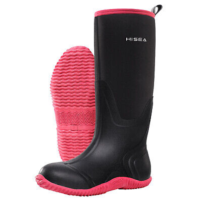 HISEA Women's BREATHABLE Rubber Boots Waterproof Snow & Rain Muck Hunting Boots 10