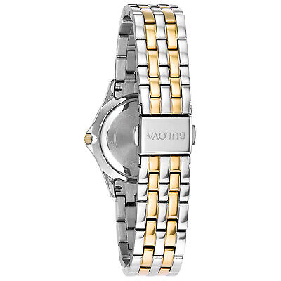 Bulova Women's Quartz Two-Tone 28mm Watch and Crystal Pendant Set 98X113 4
