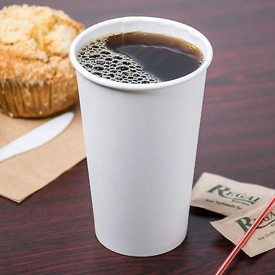 500 Ct. 20 Oz. Eco Friendly White Paper Hot Tea Coffee Cups Disposable No Lids 3