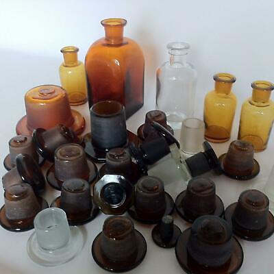 (b99) KONVOLUT Apothekerflaschen Deckel Apotheke Arzt Vorrat Stopfen Sammlung 3