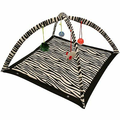 Cat Kitten Soft Play Mat Activity Centre with 4-Hanging Toys Zebra Or Tiger 3