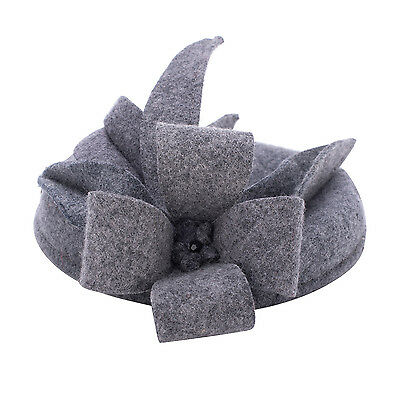 Womens Lady Gray Wool Felt Cheltenham Fascinator Hat Cocktail Party A302