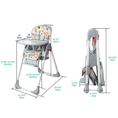 New Baby High Foldable Convertible Table Seat Booster Toddler Feeding Highchair 10