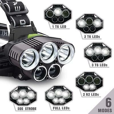 250000LM 5X T6 LED Headlamp Rechargeable Head Light Flashlight Torch Lamp USA 5