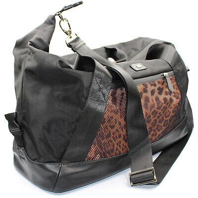 Roberto Cavalli CLASS weekend travel bag duffle bag of black nylon leopard print 4