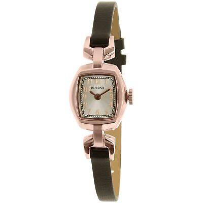 Bulova Women's 97L154 Quartz Rose Gold Case Silver Dial Leather Band 18mm Watch 2