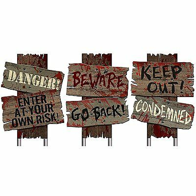 Zombie Haunted Cemetery Sidewalk Signs Halloween Props Horror Prop House Party 2