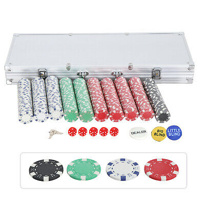 500 Chips Poker Chip Set 11.5 Gram Holdem Cards Game W/Aluminum Case & Dices 6