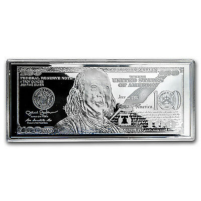 4 oz Silver Bar - 2016 $100 Bill (w/Box & COA) - SKU #94106 2