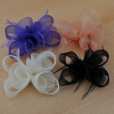 Ivory Black Purple Nude Fascinator Hair Accessories Wedding Ascot Prom Party New 5