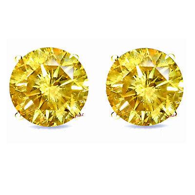 4ct CZ Stud Earrings Brilliant Cut Cubic Zirconia men women 10mm 14K gold plated 6