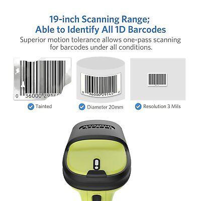 Inateck 2,4 GHz Wireless Barcode scanner, 35m Reichweite, automatisches,präzises