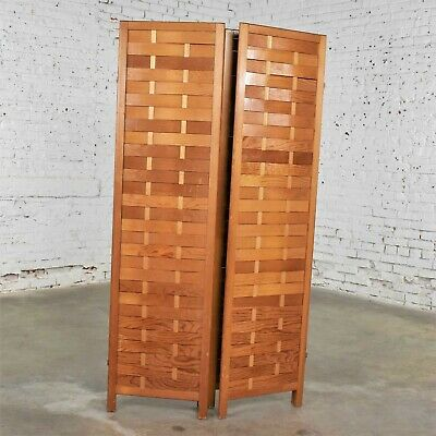 Mid Century Woven Wood Folding Screen 4 Panel Room Divider in Pine 8