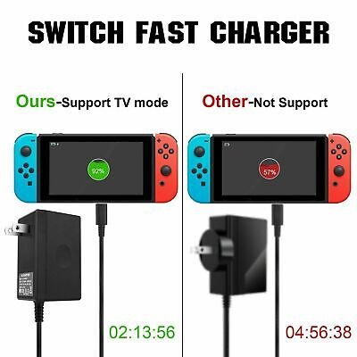 AC Adapter Power Supply Wall Charger For Nintendo Switch Dock & Pro Controller 6