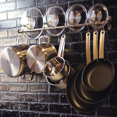 Wall Mount Rail 10 S Hooks Set Utensil Pot Pan Lid Holder Rack Kitchen Organizer 2