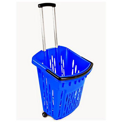 Value Plastic Shopping Trolley Basket (38L) Blue. On Wheels Castors. 5