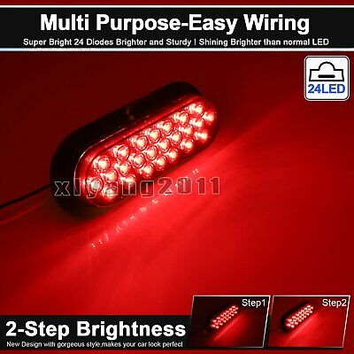 "4X Waterproof 12V Tow Truck Lamp 6"" Smoked Lens Red 24 LED Oval Brake Tail Light 5"