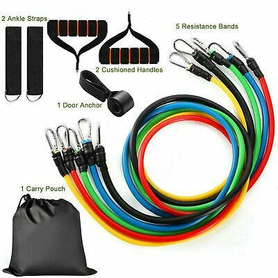 11Pcs Set Resistance Bands Workout Exercise Yoga Crossfit Fitness Training Tubes 11