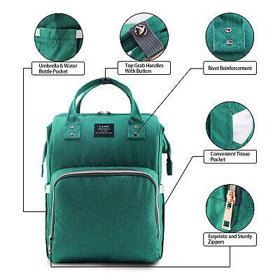 LAND Waterproof Mommy Baby Diaper Bag Nappy Backpack + Stroller Hooks 11