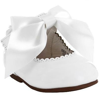 Girls Bridesmaids Bow Ribbon Party Shoes Patent Shoes Infant Sizes UK 1,3,5,7,10 4