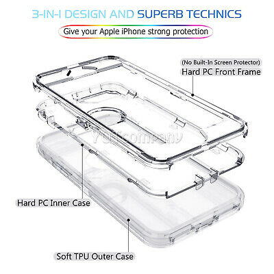 Fit Apple iPhone Clear Transparent Shockproof Protective Armor Heavy Duty Case 11