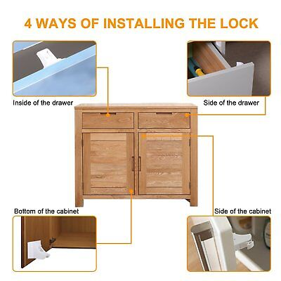 8 Invisible Safety Baby Magnetic Cupboard Drawers Lock Door Child Baby Pet Proof 4
