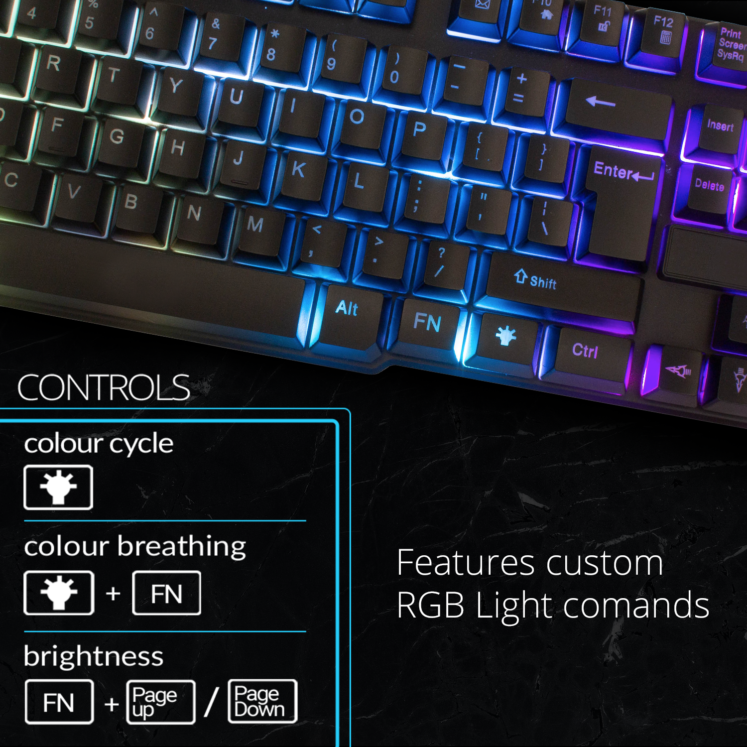 RGB Gaming Keyboard LED Back-lit Wired USB For Xbox PS4 PC Laptop Gaming 3