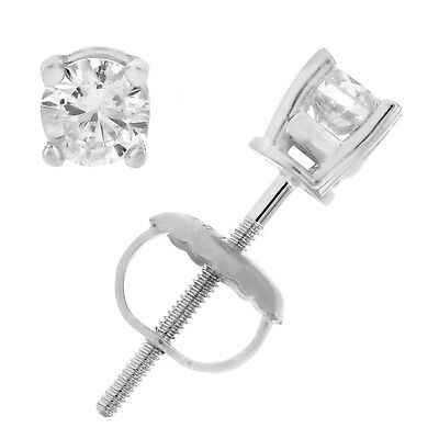 1/3 cttw Certified Round Diamond Stud Earrings 14K White Gold With Screw-Backs 4
