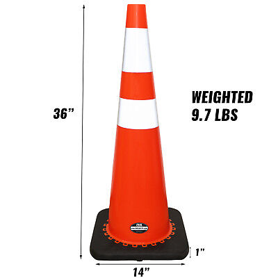 "36"" Orange Traffic Two Tape Safety Parking Driveway Cones Safety Cones (6/pack) 3"