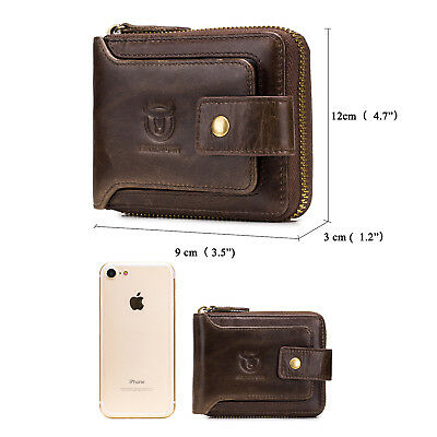 Mens Womens Genuine Leather Wallet RFID Blocking Zipper Bifold Credit Card Purse 5