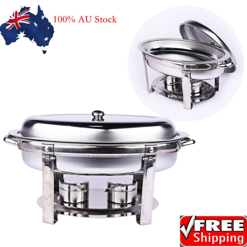 Bain Marie Bow Chafing Dishes Stainless Steel Buffet Warmer Stackable Set AU 9