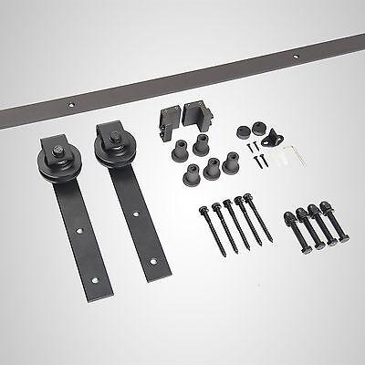 10FT Biparting Double sliding barn door Rustic Steel Black Sliding kit hardware 5