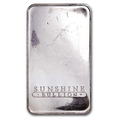 10 oz Silver Bar - Sunshine (Vintage, Dated) - SKU #80734 2