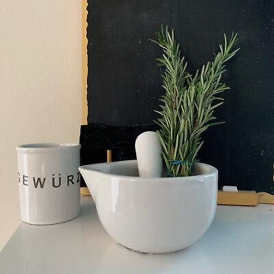 Keramik Mörser Stößel Set Weiß 10cm Gewürzmörser Käuter Zerkleinerer Mühle Reibe 6