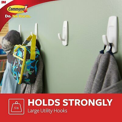 2 X 3M Command Large Self Adhesive White Utility Hook With Sticky Strips 3