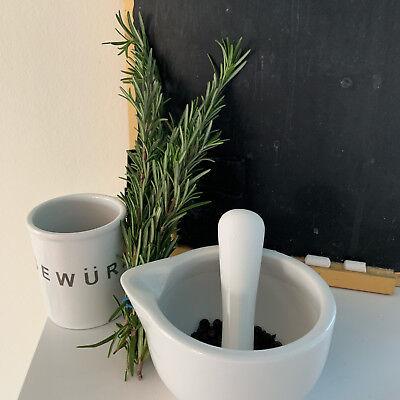 Keramik Mörser Stößel Set Weiß 10cm Gewürzmörser Käuter Zerkleinerer Mühle Reibe 7