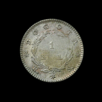 1845 Colombia Silver 1 Real - Rainbow Toning - Rare in High Grade