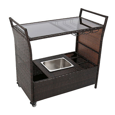 Kinbor Serving Cart Rattan Wicker Bar Trolley Outdoor