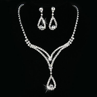 Silver Women Bridal Bridesmaid Wedding Jewelry Sets Necklace Earrings Set Gifts 11