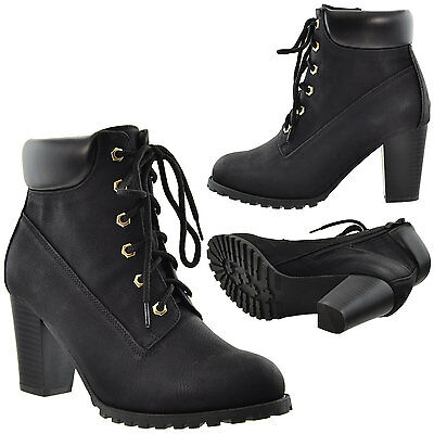 8ad9479ff256 ... Women s Ankle Boots Lace Up Booties Chunky Stacked High Heel Rugged  Padded Shoes 4