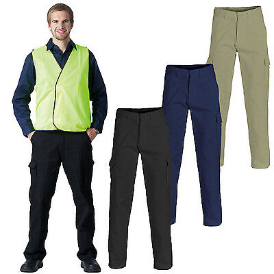 Mens Cargo Pants Work Pants Cotton Drill 8 Pockets Black Navy Heavy Duty UPF50 2