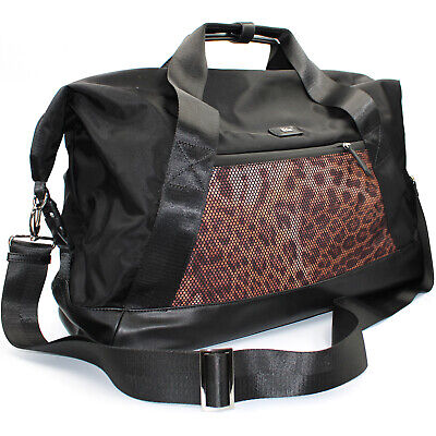 Roberto Cavalli CLASS weekend travel bag duffle bag of black nylon leopard print 2