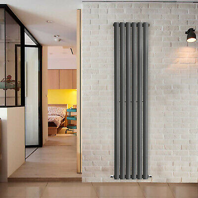 Designer Vertical Oval Column Tall Upright Central Heating Radiator Anthracite 2