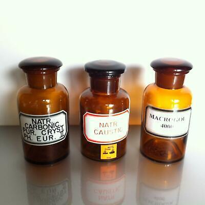 (b50) Braune Apothekerflaschen 250ml mit Label Apotheke Arzt Vorrat Tee Set 2