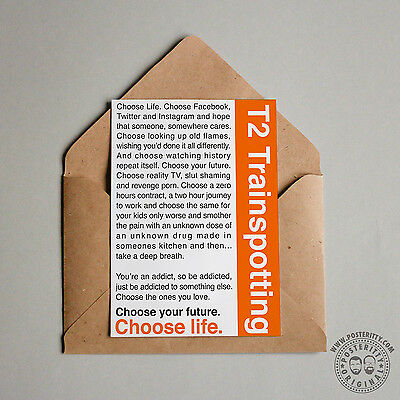 Typography Film Posteritty TRAINSPOTTING Monologue /'Choose Life/' Movie Poster