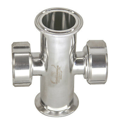"HFS(R) 1.5"" Inline Union Sight Flow Glass Sanitary Tri-Clamp Stainless Steel 304"